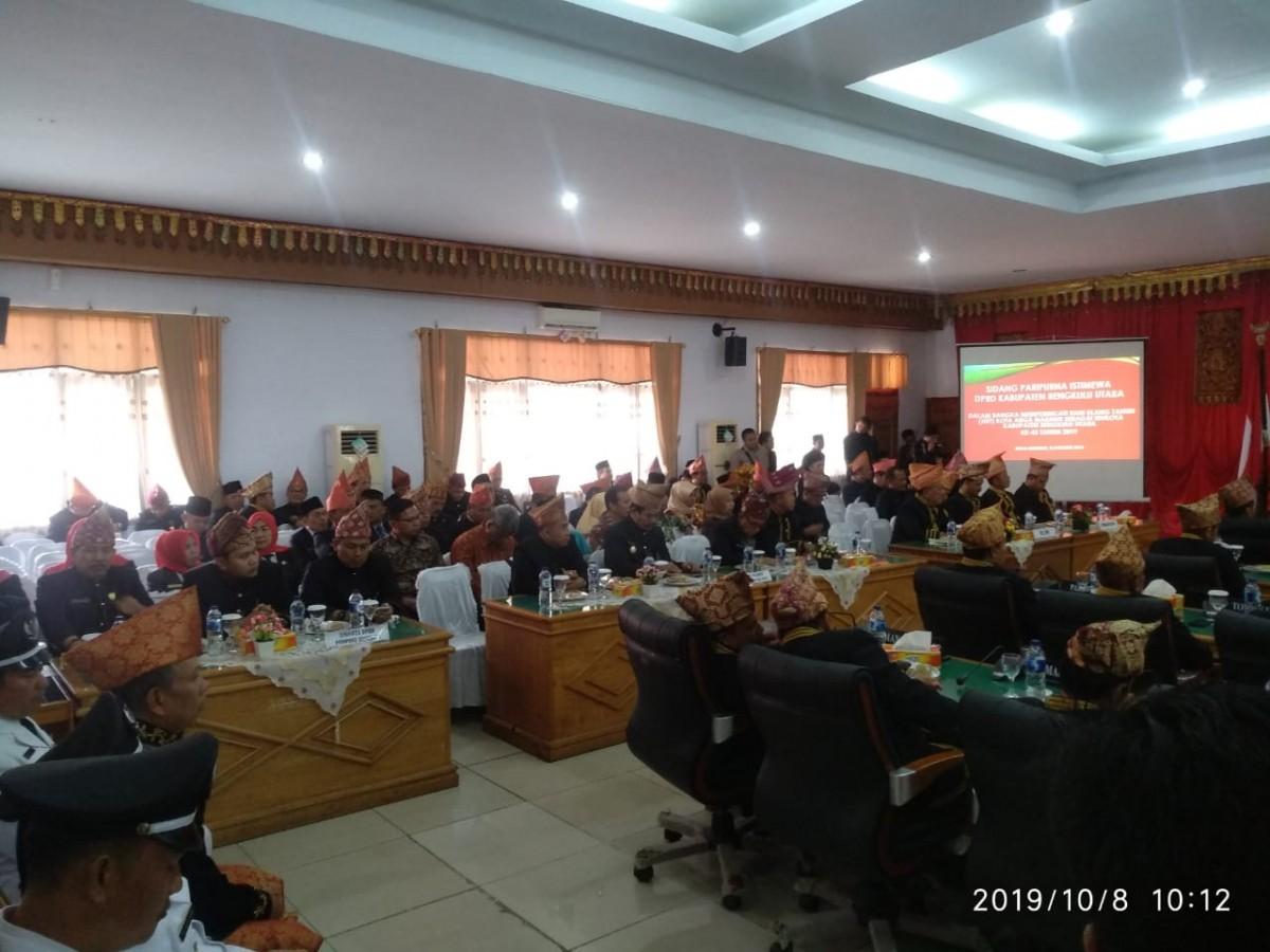 Suasana rapat paripurna Istimewa DPRD BU Dalam Rangka HUT Ke 43 Kabupaten Argamakmur